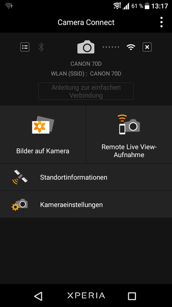 praktische Fotografie-Apps Screenshot: Canon Camera Connect